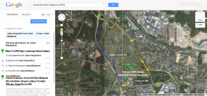 A preview of directions to Faculty of Agriculture, UPM on Google Maps